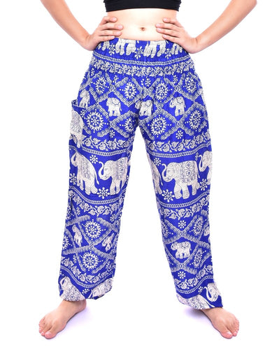 Bohotusk Blue Elephant Plain Print Elasticated Smocked Waist Womens Harem Pants