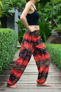 Bohotusk Red Teardrop Print Elasticated Smocked Waist Womens Harem Pants