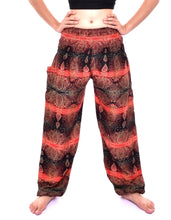 Load image into Gallery viewer, Bohotusk Red Teardrop Print Elasticated Smocked Waist Womens Harem Pants