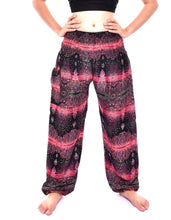 Load image into Gallery viewer, Bohotusk Pink Teardrop Print Elasticated Smocked Waist Womens Harem Pants S/M