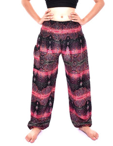 Bohotusk Pink Teardrop Print Elasticated Smocked Waist Womens Harem Pants S/M