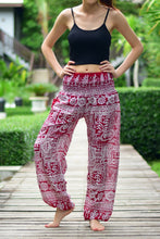 Load image into Gallery viewer, Bohotusk Red Forest Print Elasticated Smocked Waist Womens Harem Pants S/M