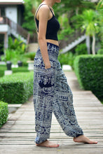 Load image into Gallery viewer, Bohotusk Navy Blue Forest Print Elasticated Smocked Waist Womens Harem Pants S/M to 3XL