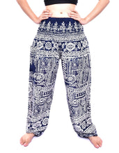 Load image into Gallery viewer, Bohotusk Navy Blue Forest Print Elasticated Smocked Waist Womens Harem Pants