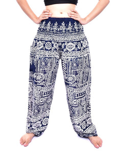 Bohotusk Navy Blue Forest Print Elasticated Smocked Waist Womens Harem Pants S/M to 3XL