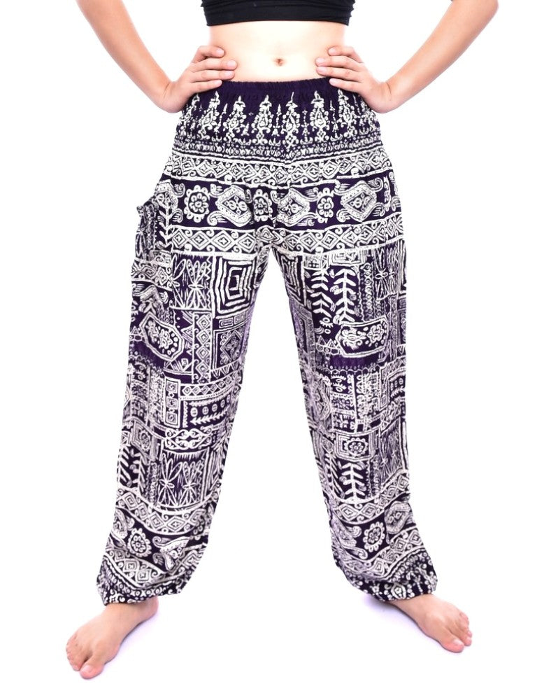 Bohotusk Purple Forest Print Elasticated Smocked Waist Womens Harem Pants