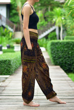 Load image into Gallery viewer, Bohotusk Brown Moonshine Print Elasticated Smocked Waist Womens Harem Pants