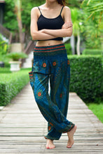 Load image into Gallery viewer, Bohotusk Kids Teal Moonshine Print Elasticated Smocked Waist Harem Pants (13 - 15 Years)