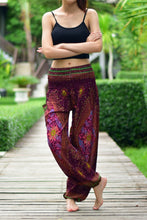 Load image into Gallery viewer, Bohotusk Purple Moonshine Print Elasticated Smocked Waist Womens Harem Pants