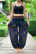 Load image into Gallery viewer, Bohotusk Navy Blue Moonshine Print Elasticated Smocked Waist Womens Harem Pants