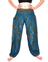 Load image into Gallery viewer, Bohotusk Teal Moonshine Print Elasticated Smocked Waist Womens Harem Trousers Alternative Maternity Trouser