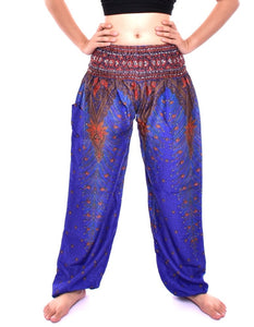 Bohotusk Blue Peacock Print Elasticated Smocked Waist Womens Harem Pants S/M to LXL