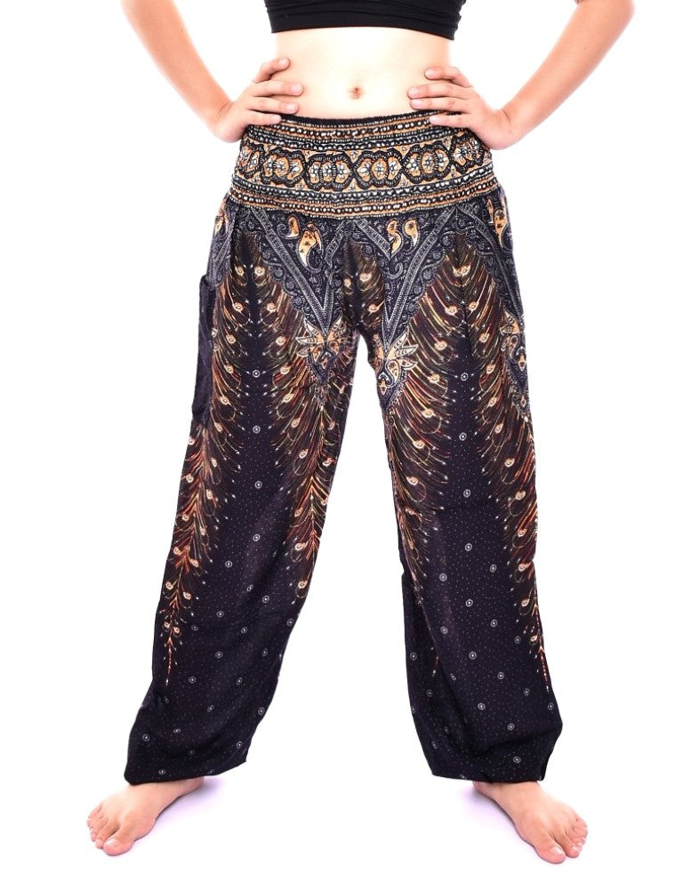 Bohotusk Black & Gold Peacock Print Elasticated Smocked Waist Womens Harem Pants S/M to L/XL