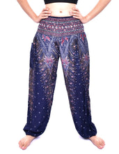 Load image into Gallery viewer, Bohotusk Kids Purple Peacock Elasticated Smocked Waist Harem Pants (9 - 12 Years)