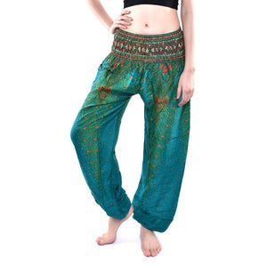 Bohotusk Green Peacock Print Elasticated Smocked Waist Womens Harem Pants S/M to LXL