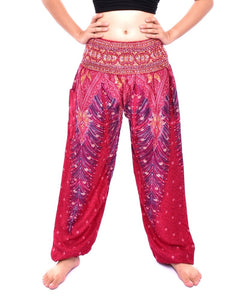 Bohotusk Red Peacock Print Elasticated Smocked Waist Womens Maternity Harem Trousers