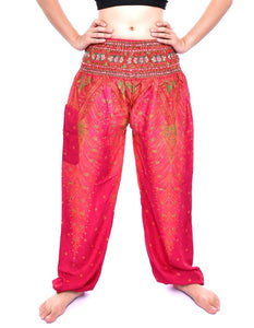 Bohotusk Pink Peacock Print Elasticated Smocked Waist Womens Harem Pants S/M to LXL