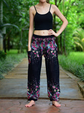 Load image into Gallery viewer, Bohotusk Black Floral Print Elasticated Smocked Waist Womens Harem Pants S/M to 3XL