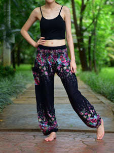 Bohotusk Black Floral Print Elasticated Smocked Waist Womens Harem Pants S/M to 3XL