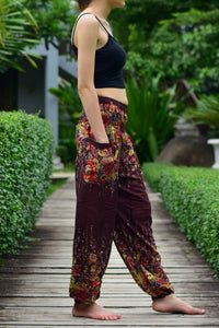 Bohotusk Brown Floral Print Elasticated Smocked Waist Womens Harem Pants
