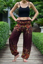Load image into Gallery viewer, Bohotusk Brown Floral Print Elasticated Smocked Waist Womens Harem Pants