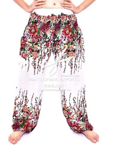 Bohotusk White Floral Print Elasticated Smocked Waist Womens Harem Pants S/M