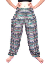 Load image into Gallery viewer, Bohotusk Green Chill Stripe Print Elasticated Smocked Waist Womens Harem Pants
