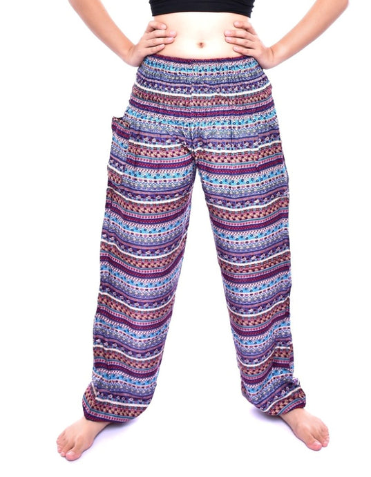 Bohotusk Purple Chill Stripe Print Elasticated Smocked Waist Womens Harem Pants S/M to LXL