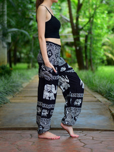 Bohotusk Black Elephant Bull Print Elasticated Smocked Waist Womens Harem Pants S/M to 3XL