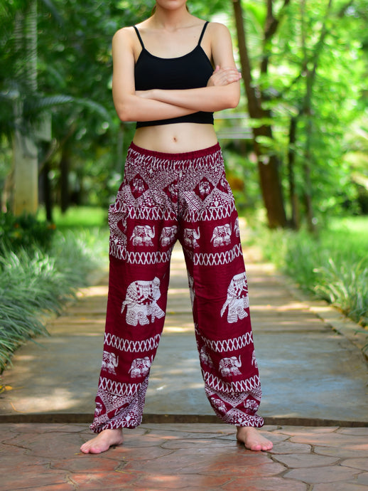 Bohotusk Red Elephant Bull Print Elasticated Smocked Waist Womens Harem Pants S/M to 3XL