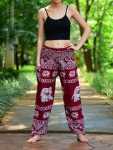 Load image into Gallery viewer, Bohotusk Red Elephant Bull Print Elasticated Smocked Waist Womens Harem Pants S/M to 3XL