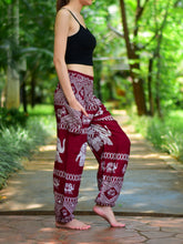 Load image into Gallery viewer, Bohotusk Red Elephant Bull Print Elasticated Smocked Waist Womens Maternity Harem Trousers