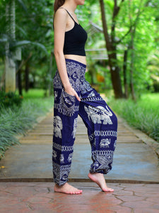 Bohotusk Navy Blue Elephant Bull Print Elasticated Smocked Waist Womens Harem Pants S/M to 3XL