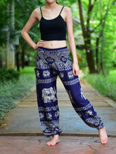 Load image into Gallery viewer, Bohotusk Navy Blue Elephant Bull Print Elasticated Smocked Waist Womens Harem Pants S/M to 3XL