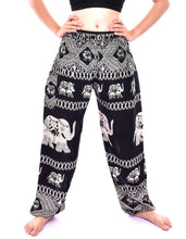 Load image into Gallery viewer, Bohotusk Black Elephant Bull Print Elasticated Smocked Waist Womens Harem Pants S/M to 3XL
