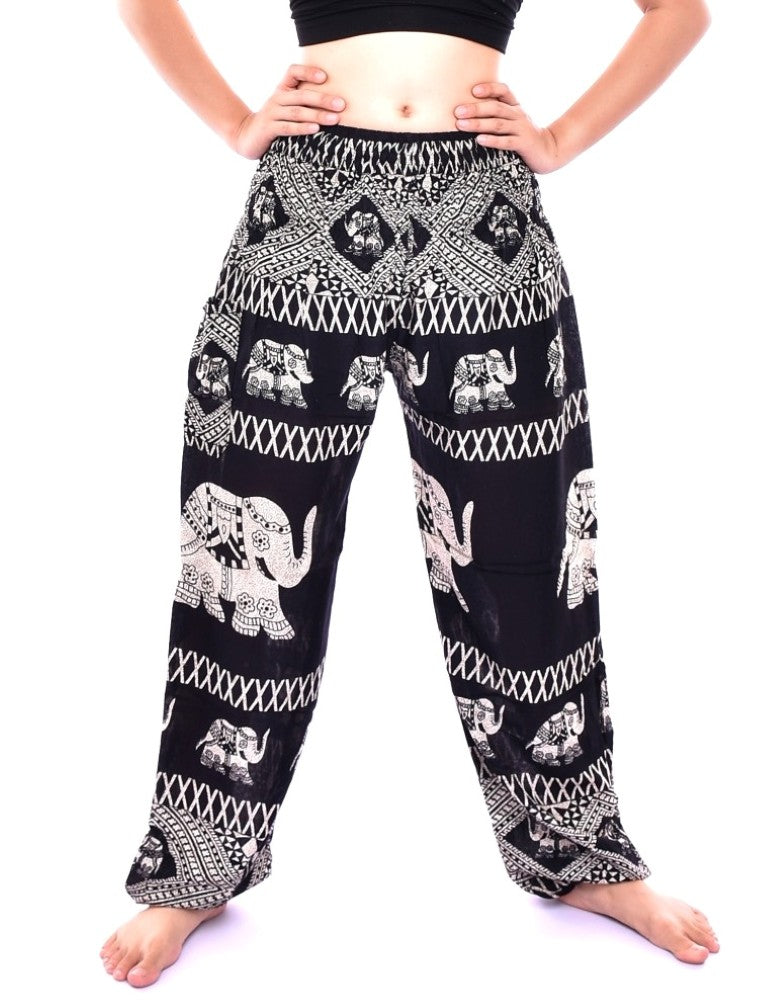 Bohotusk Black Elephant Bull Print Elasticated Smocked Waist Womens Harem Pants