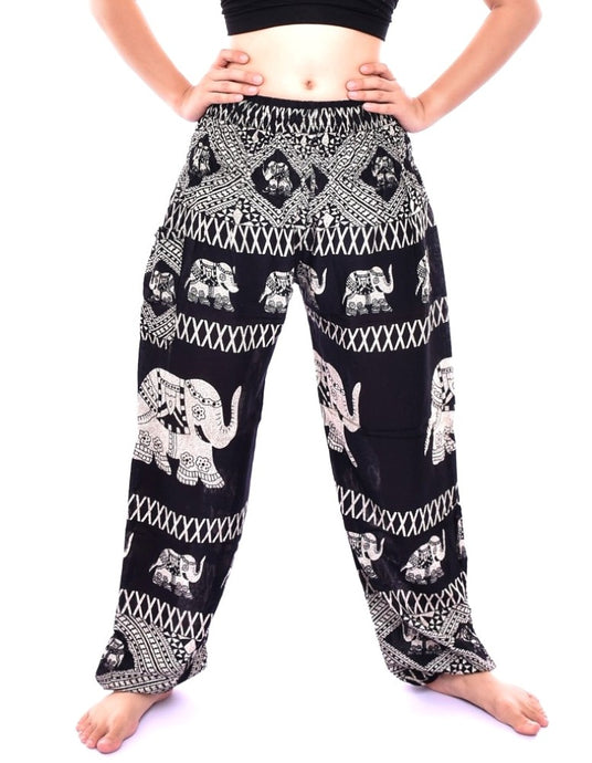 Bohotusk Black Elephant Bull Print Elasticated Smocked Waist Womens Maternity Harem Trousers