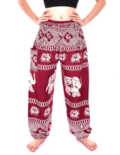 Load image into Gallery viewer, Bohotusk Red Elephant Bull Print Elasticated Smocked Waist Womens Harem Pants