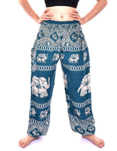 Load image into Gallery viewer, Bohotusk Teal Elephant Bull Print Elasticated Smocked Waist Womens Harem Pants