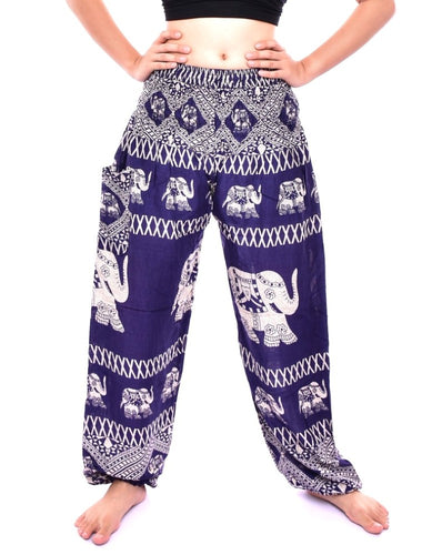 Bohotusk Navy Blue Elephant Bull Print Elasticated Smocked Waist Womens Harem Pants