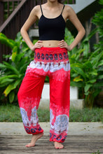 Load image into Gallery viewer, Bohotusk Red Elephant Boro Print Elasticated Smocked Waist Womens Harem Pants