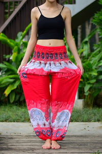 Bohotusk Red Elephant Boro Print Elasticated Smocked Waist Womens Harem Pants
