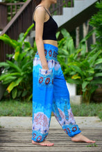 Load image into Gallery viewer, Bohotusk Blue Elephant Boro Print Elasticated Smocked Waist Womens Harem Pants S/M to 3XL