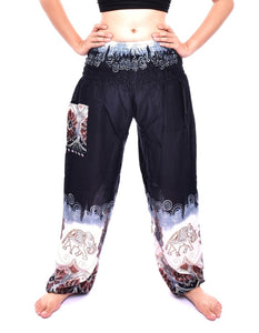Bohotusk Black Elephant Boro Print Elasticated Smocked Waist Womens Harem Pants S/M