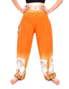 Bohotusk Orange Elephant Boro Print Elasticated Smocked Waist Womens Harem Pants S/M