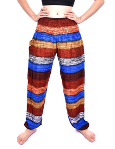 Bohotusk Brown Multi Stripe Print Elasticated Smocked Waist Womens Harem Trousers Alternative Maternity Trouser