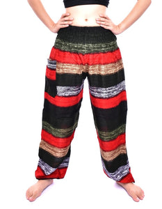 Bohotusk Olive Multi Stripe Print Elasticated Smocked Waist Womens Harem Pants