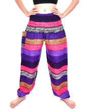 Load image into Gallery viewer, Bohotusk Pink Multi Stripe Print Elasticated Smocked Waist Womens Harem Pants