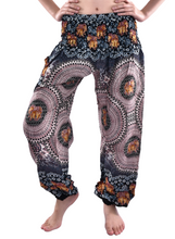 Load image into Gallery viewer, Bohotusk Kids Pink Black Elephant Elasticated Smocked Waist Harem Pants (6 - 8 Years)