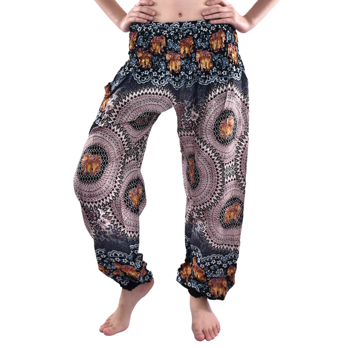 Bohotusk Black Pink Elephant Genie Print Elasticated Smocked Waist Womens Harem Pants S/M